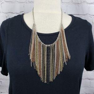 Multi Chain Fringe Rocker Boho Rockabilly Necklace